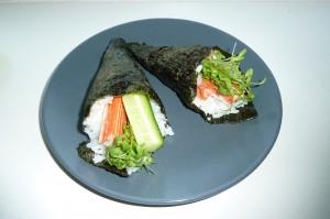 Breedbladige tuinkers in sushi